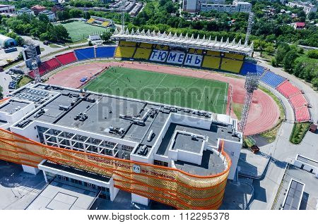 Aerial view of modern city stadium. Tyumen. Russia