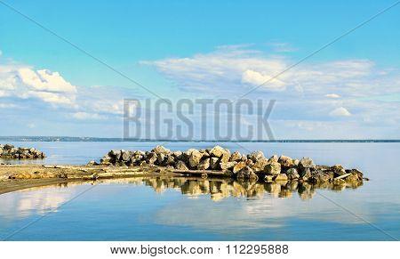 Ledge Of Rock On The Sea