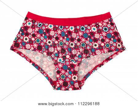 Red Panties With Floral Pattern.