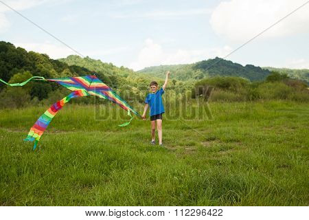 Boy Play With Kite