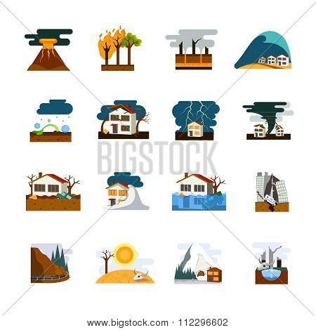 Natural Disaster Flat Icons Set