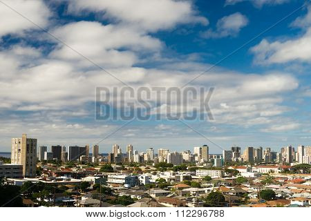 White Clouds Blue Skies Residential Homes Downtown City Skyline Honolulu