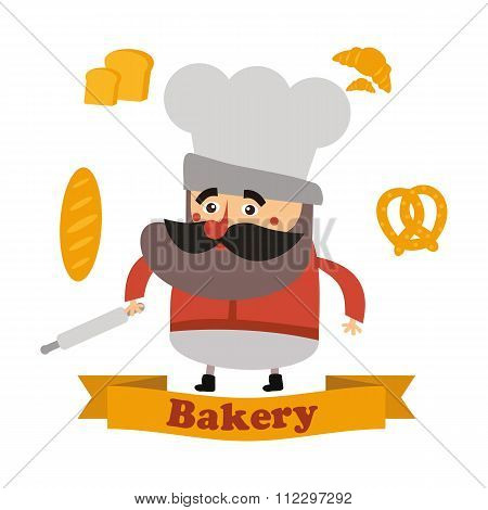 Baker And Cake In Vector Format