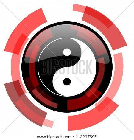 ying yang red modern web icon