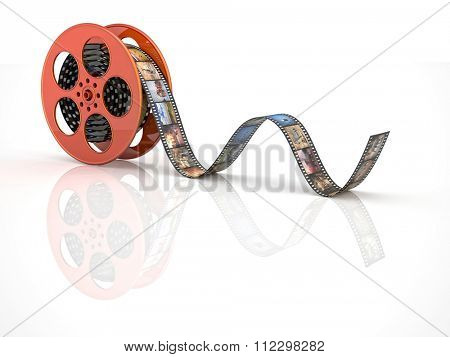render of classic cinema film roll with animal
