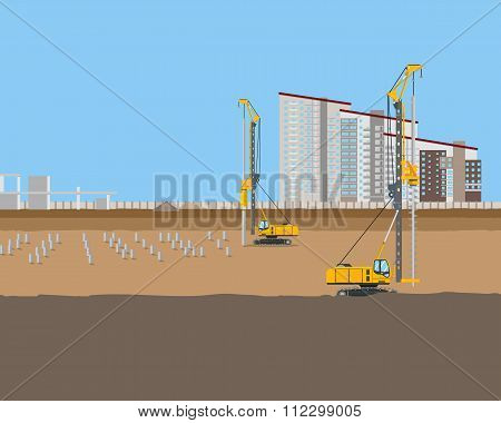 Piling machines installed piles at a construction site for a new home. Vector illustration