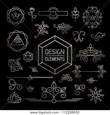 Icon Set Gold Line Art Mono Outline Ornament Flower