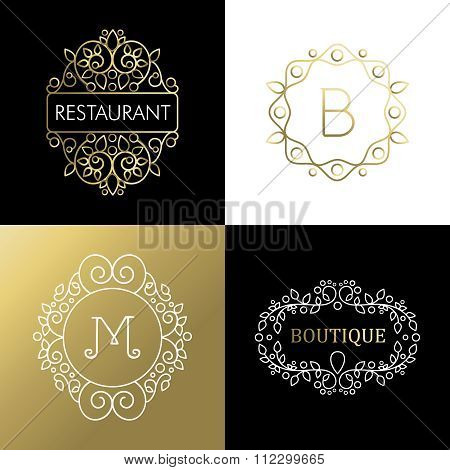 Ornament Frame Set Mono Line Art Outline Sign Gold