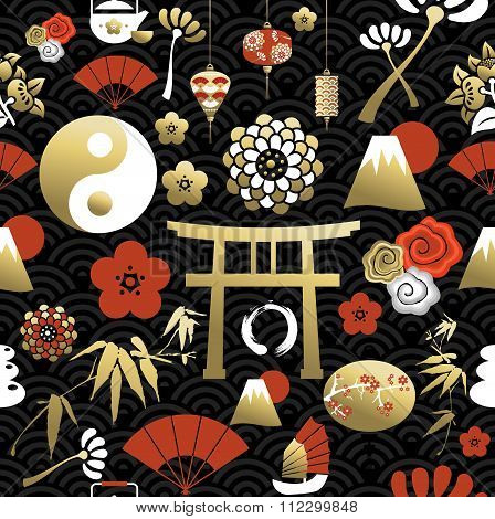 Chinese Icon Seamless Pattern Culture Element