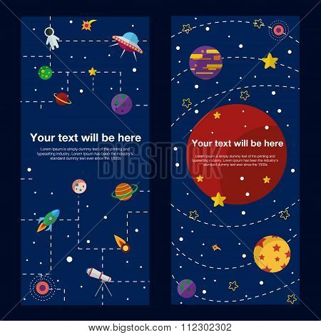 Space theme banners and cards with flat astronomic symbols of planets, rocket, stars, telescope for