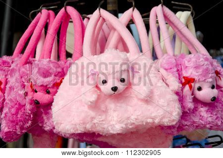 Pink Poodle Bags in street market