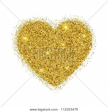 Vector Gold Sparkles Heart On White Background.