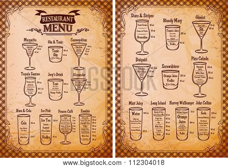 Menu Template For Alcoholic Beverages For Restaurant