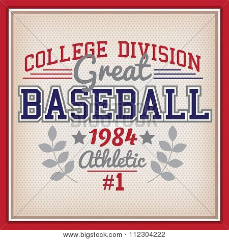 Baseball College Division Badge