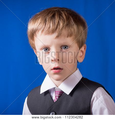 Portrait Of The Boy Of The Blonde With Blue Eyes