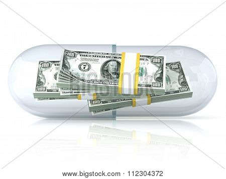 Transparent pill capsule with dollars stack inside. Isolated on white background. 3D