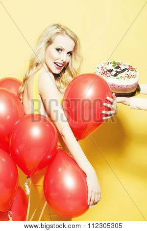 Happy Woman With Cake