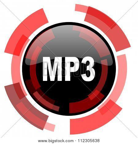 mp3 red modern web icon