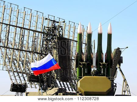 MOSCOW REGION  -   AUGUST 25: Starting platform with four guide anti-aircraft medium range missiles -  on August 25, 2015 in Moscow region