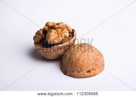 Wallnut Macro Isolated On White Background