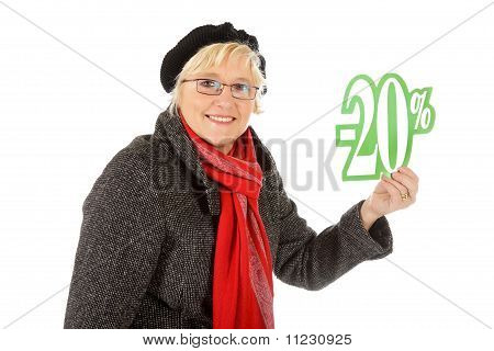 Middle Aged Woman, Twenty Percent Discount Sign