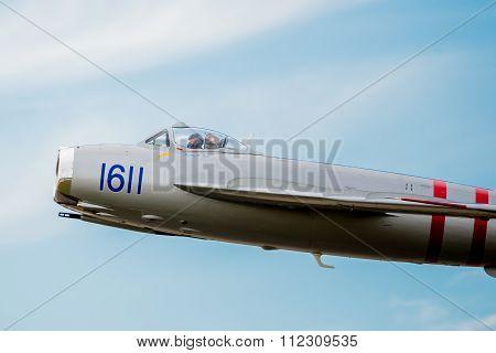Mig-17 Close-up Of Cockpit In Flight