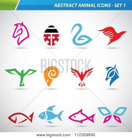 Vector illustration of colorful abstract animal icons