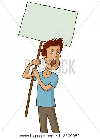 Angry Protester With White Sign