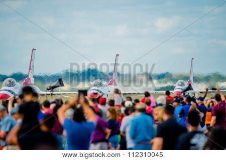 Crowd Watching Thunderbirds On Runway