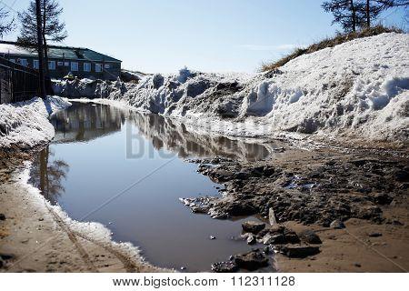 big pool in spring, water surface