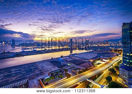 Hong Kong city sunset, view from kowloon.