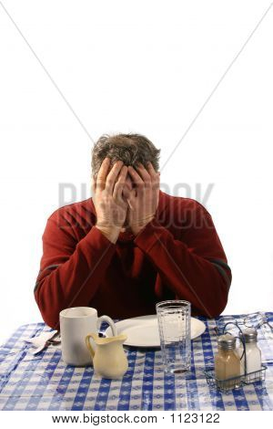 Distraught Man In Diner