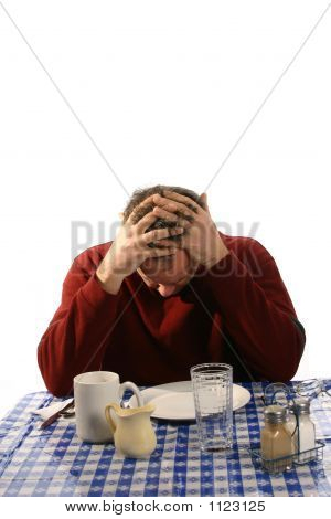 Troubled Man In Diner