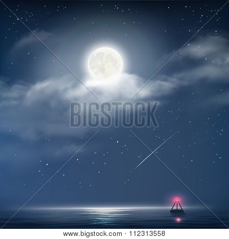 Vector Illustration Of Night Cloudy Sky With Stars, Moon And Sea With Beacon