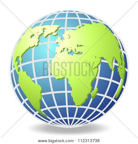 Vector 3D Realistic Globe Drawing with continent and shadow