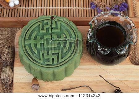 Festival Moon Cake - China Dessert With Green Tea.