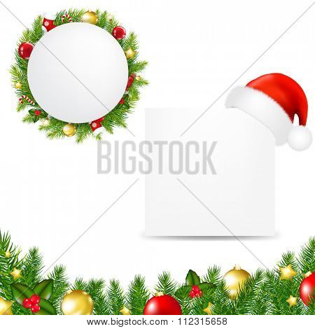 Happy Christmas Banner With Santa Hat