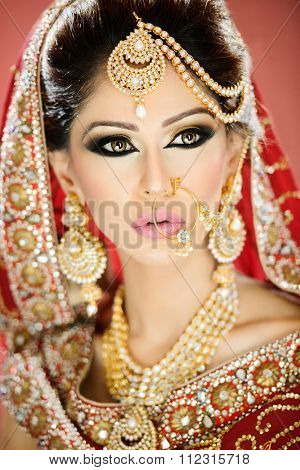 Portrait of a beautiful female model as a bride in traditional indian costume and jewellery