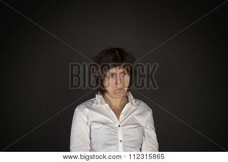 Portrait of young crazy surprised woman