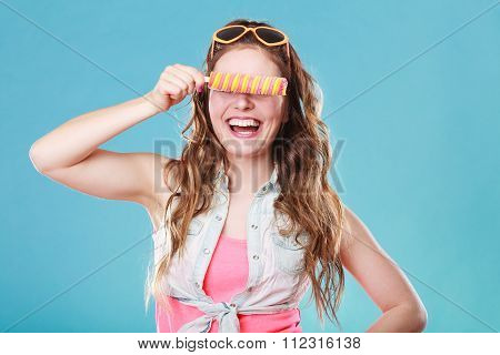 Summer Woman Eating Popsicle Ice Pop Cream