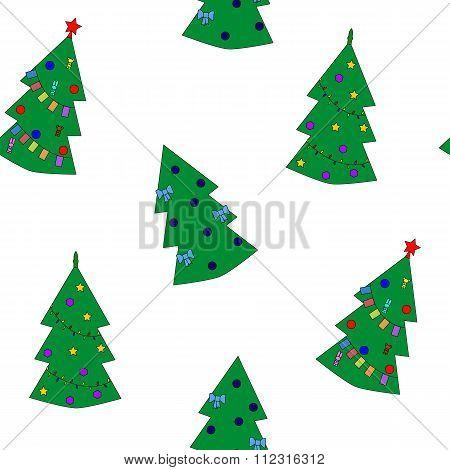Seamless pattern of christmas tree