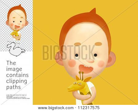 The illustration of the boy holding the toy giraffe. A part of Dodo collection - a set of educational cards for children. The image has clipping paths and you can cut the image from the background.