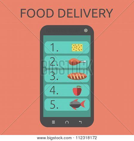 Food On Smartphone Screen