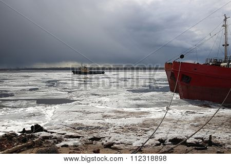 Close up of drift ice boat at at Arkhangelsk