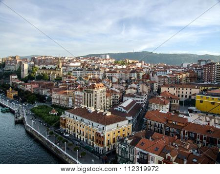The town of Portugalete (Bilbao) seen from the suspension bridge