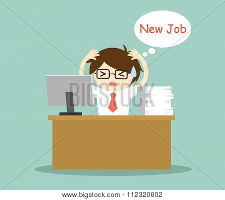 Business concept, Businessman feeling stressed and thinking about new job.