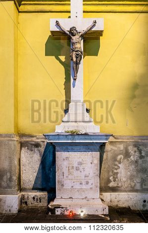Monument to the missions happened in churches Terezvaros (Hungary).