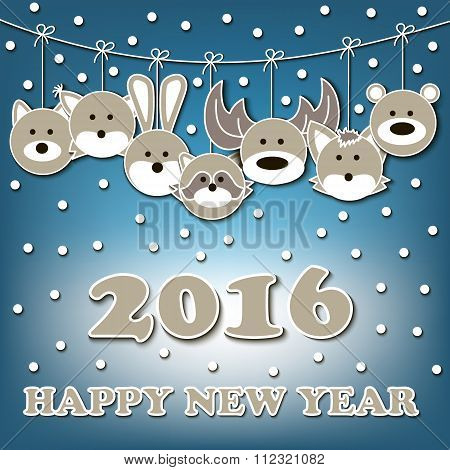 Happy New Year And Muzzles Of Animals