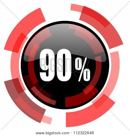 90 percent red modern web icon