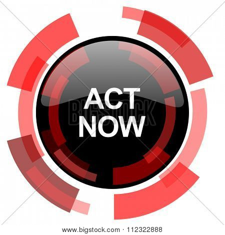 act now red modern web icon